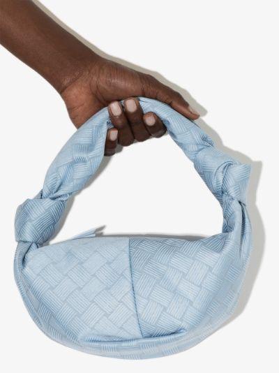 blue Double Knot top handle mini bag