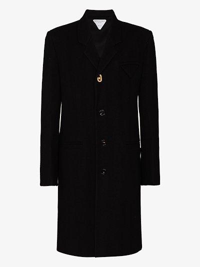 boiled herringbone wool coat