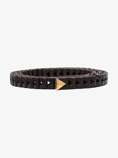 brown chevron leather belt