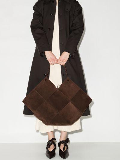 Brown Intrecciato Suede Tote Bag