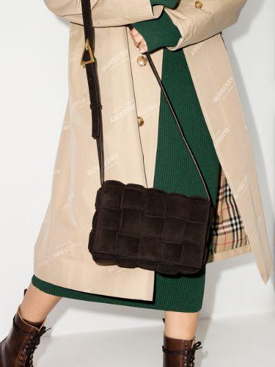 brown Padded Cassette suede shoulder bag