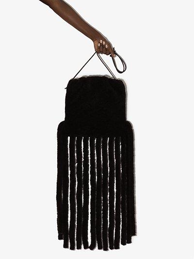 brown The Fringe Pouch shearling shoulder bag