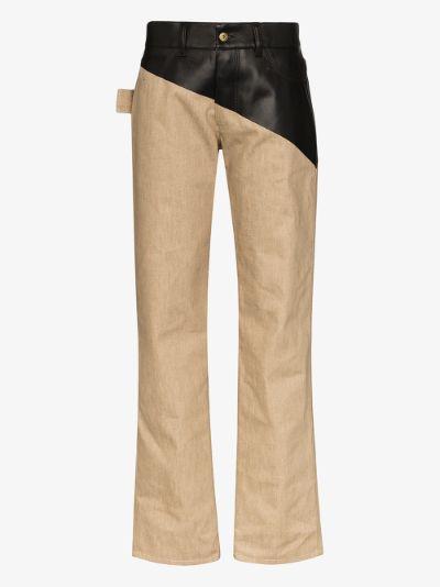 coated straight leg trousers