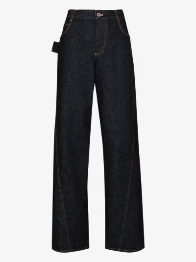 deconstructed wide leg jeans