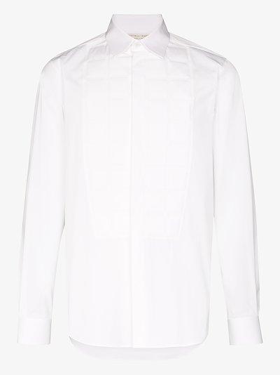 embossed bib front shirt