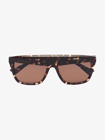 brown tortoiseshell square frame sunglasses