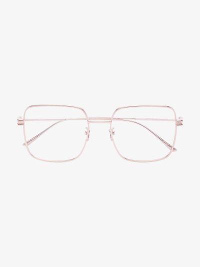 gold tone square frame glasses
