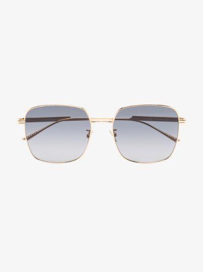 gold tone square frame sunglasses