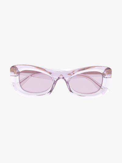 purple transparent rectangular sunglasses