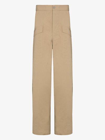 flap pocket cotton trousers