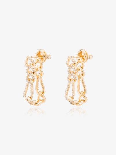 gold-plated crystal chain loop earrings