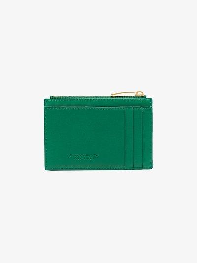 green Intrecciato leather card holder