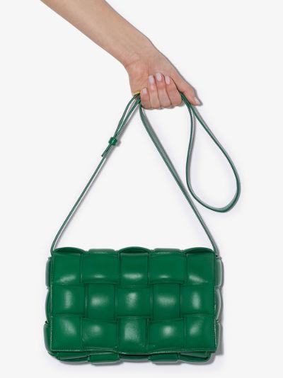 green padded Cassette leather shoulder bag