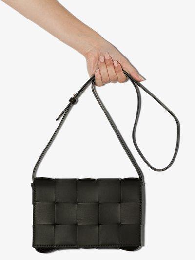 Khaki Cassette leather shoulder bag