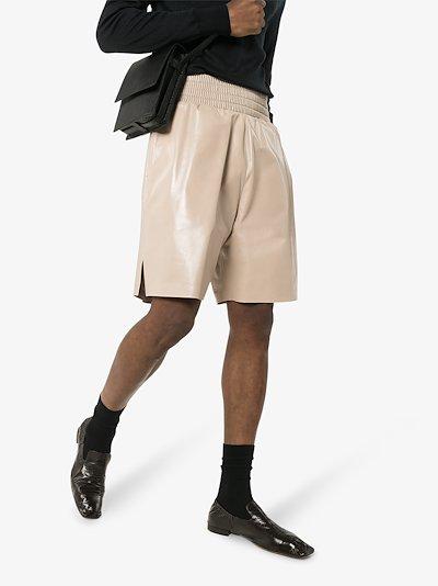 leather boxer track shorts