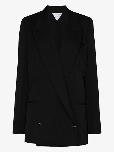 longline double-breasted wool blazer
