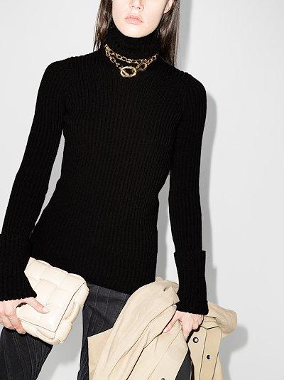 Open back turtleneck wool sweater