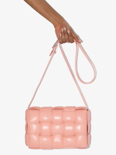 Peach Padded Cassette leather shoulder bag
