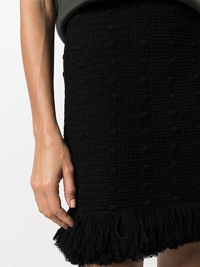 pom-pom knit cotton mini skirt