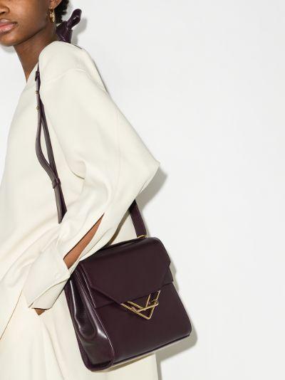 purple The Clip leather cross body bag