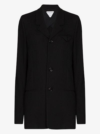 single-breasted tech wool blazer