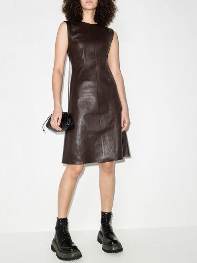 sleeveless A-line leather dress