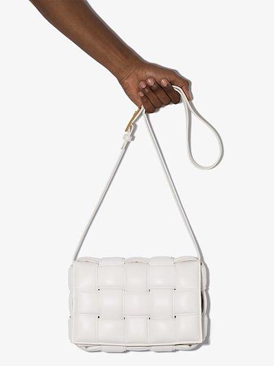 white Cassette padded Intrecciato leather shoulder bag