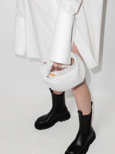 white The Mini Jodie Leather Clutch Bag