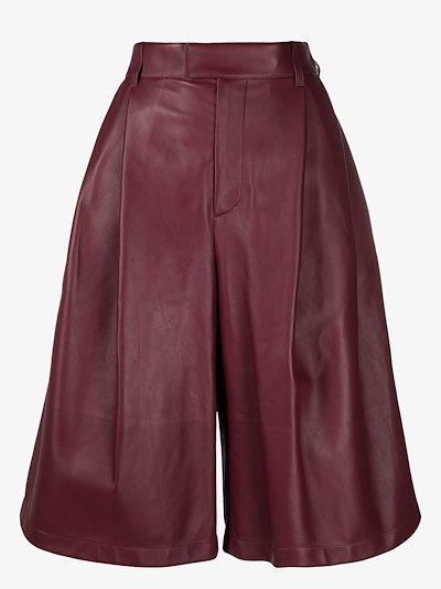 wide leg leather Bermuda shorts
