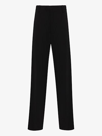 wide leg wool trousers