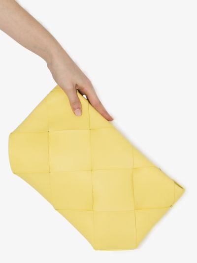 Yellow Intrecciato leather pouch