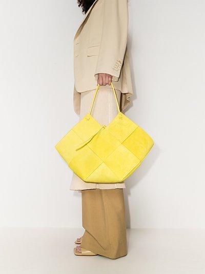 Yellow Intrecciato Suede Tote Bag