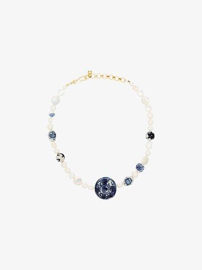 white Aurora pearl stone necklace