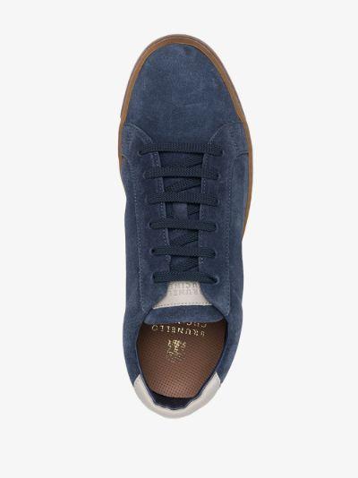 blue low top suede sneakers