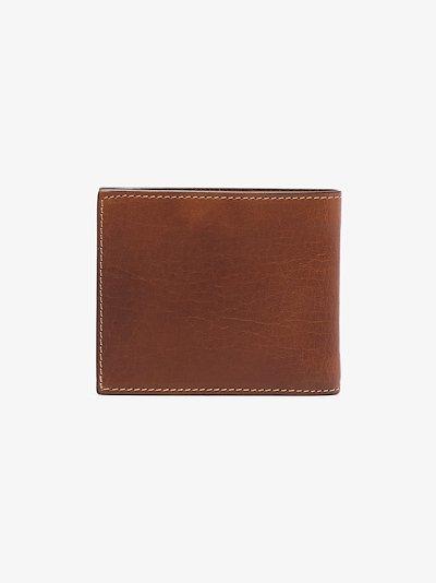 brown debossed logo billfold leather wallet