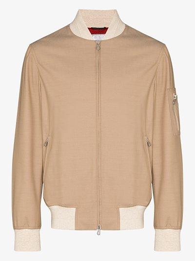 contrast trim bomber jacket