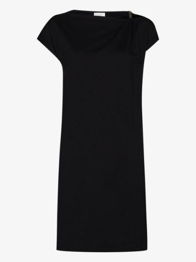embellished shoulder mini dress