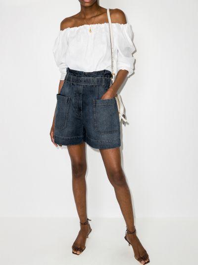 high waist belted denim shorts
