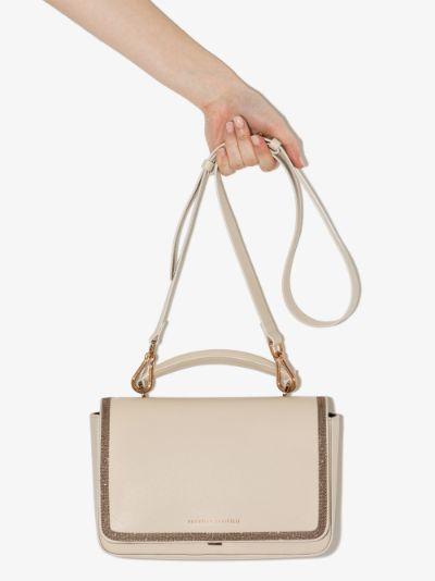 Neutral Beaded Trim Leather Shoulder Bag