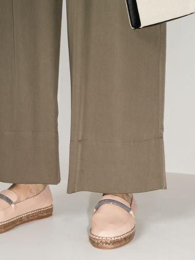 Neutral embellished leather espadrilles