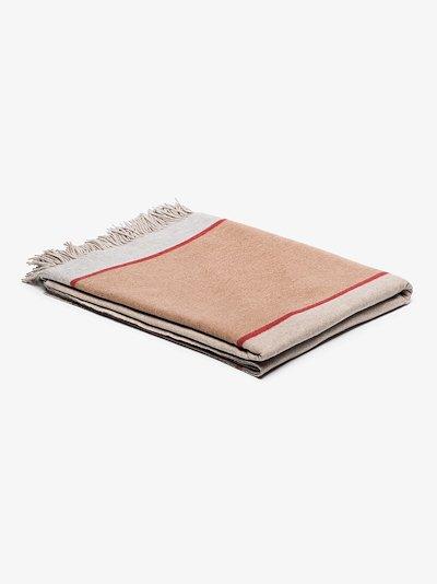 Neutral fringed cashmere blanket