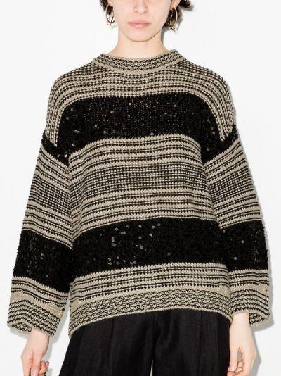 sequin-stripe oversized sweater