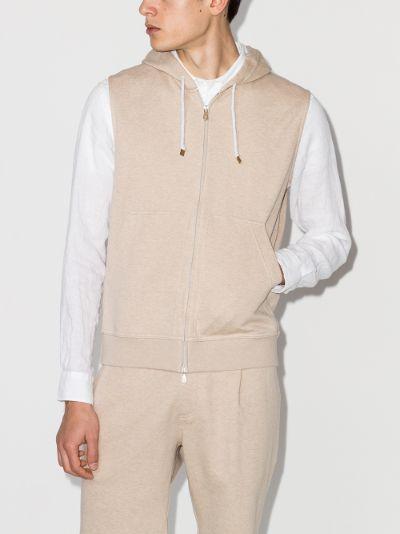 sleeveless zip-up hoodie