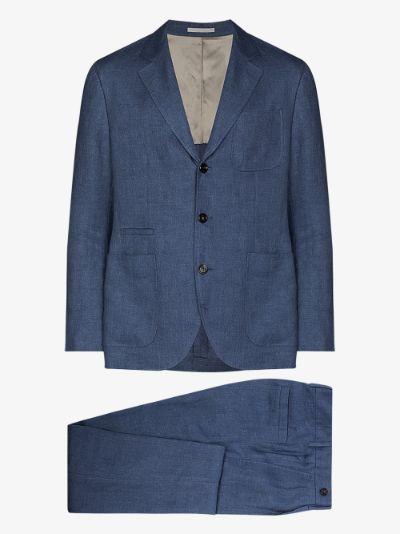 two-piece linen suit