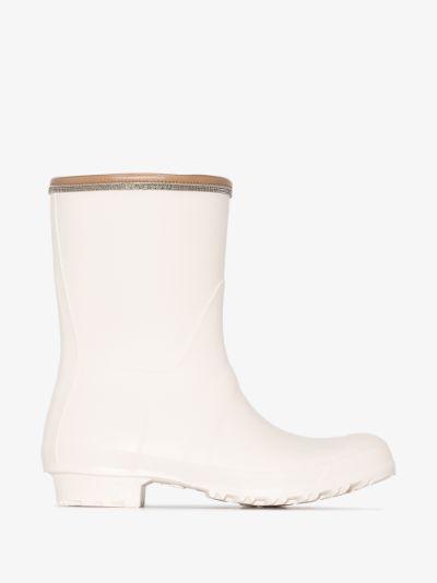 white leather trim rainboots