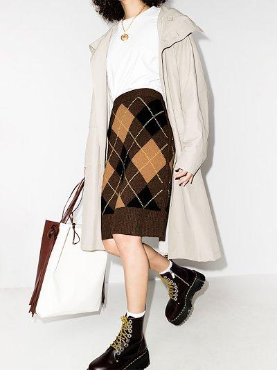 Ayla argyle check knitted skirt