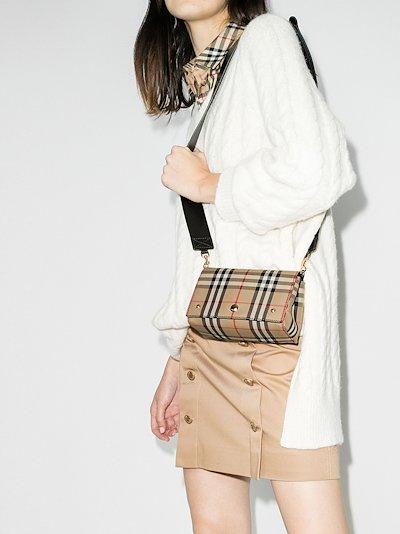 beige Hackberry Vintage Check leather mini bag