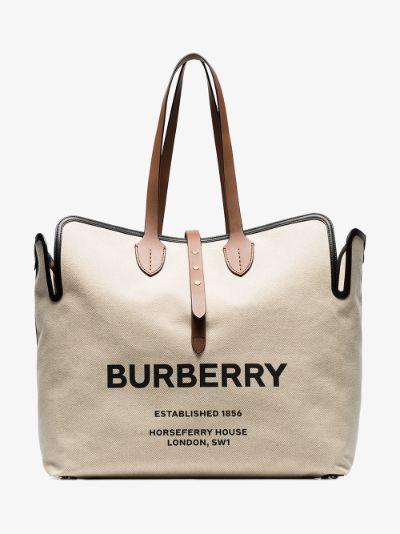 beige large logo print canvas tote bag