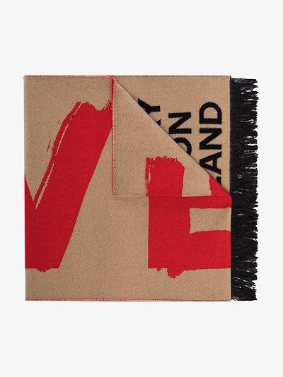 beige love logo scarf