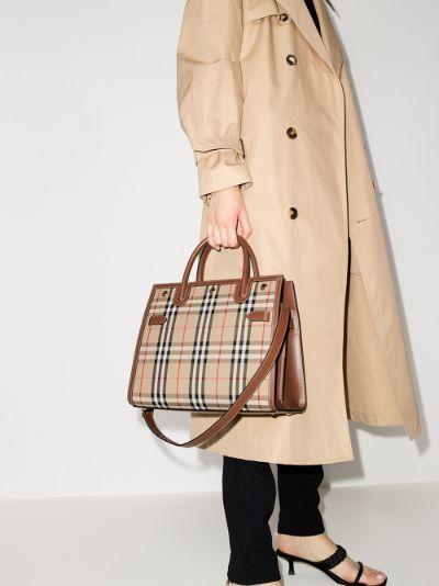 beige Title Vintage check tote bag